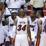 Miami Heat small forward LeBron James (6) speaks to teammates during the first half of Game 6 of the NBA Finals basketball game against the San Antonio Spurs, Tuesday, June 18, 2013 in Miami …