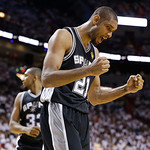 San Antonio Spurs power forward Tim Duncan (21) reacts to play against the Miami Heat during the second half of Game 6 of the NBA Finals basketball game, Tuesday, June 18, 2013 in Miami. (AP …