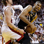 Miami Heat shooting guard Mike Miller (13) defends San Antonio Spurs power forward Tim Duncan (21) during the second half of Game 6 of the NBA Finals basketball game, Tuesday, June 18, 2013  …
