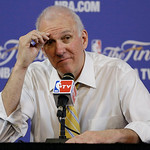San Antonio Spurs head coach Gregg Popovich pauses during a post-game news conference following Game 6 of the NBA Finals basketball game against the Miami Heat, Wednesday, June 19, 2013 in M …