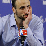 San Antonio Spurs guard Manu Ginobili of Argentina listens to a questions during the post-game news conference following Game 6 of the NBA Finals basketball game against the Miami Heat, Wedn …