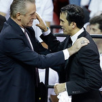 CORRECTS BYLINE – Miami Heat president Pat Riley, left, speaks to Miami Heat head coach Erik Spoelstra after Game 7 of the NBA basketball championship against the San Antonio Spurs, Friday, …