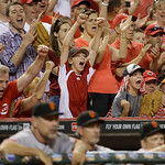Cincinnati Reds fans react with two outs in the ninth inning of a baseball game against the San Francisco Giants, Tuesday, July 2, 2013, in Cincinnati. Cincinnati won 3-0 behind a no-hitter  …