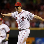 Cincinnati Reds starting pitcher Homer Bailey celebrates after throwing a no-hitter against the San Francisco Giants in a baseball game, Tuesday, July 2, 2013, in Cincinnati. (AP Photo/Al Be …