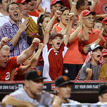 Cincinnati Reds fans celebrate behind the San Francisco Giants dugout with two outs in the ninth inning of a baseball game, Tuesday, July 2, 2013, in Cincinnati. Cincinnati won 3-0 on a no-h …