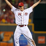 Cincinnati Reds starting pitcher Homer Bailey celebrates after pitching a no-hitter against the San Francisco Giants in a baseball game, Tuesday, July 2, 2013, in Cincinnati. Cincinnati won …