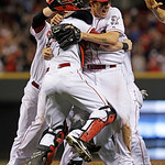 Cincinnati Reds starting pitcher Homer Bailey, right, celebrates after throwing a no-hitter against the San Francisco Giants in a baseball game, Tuesday, July 2, 2013, in Cincinnati. (AP Pho …