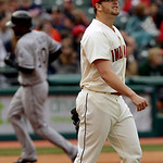 Cleveland Indians relief pitcher Vinnie Pestano, right, reacts after giving up a solo home run to Chicago White Sox's Alejandro De Aza in the eighth inning of a baseball game on Sunday, Apri …