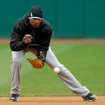 Chicago White Sox shortstop Alexei Ramirez takes ground balls before a baseball game against the Cleveland Indians Sunday, April 14, 2013, in Cleveland. (AP Photo/Mark Duncan)