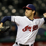 Cleveland Indians relief pitcher Rich Hill delivers against the Boston Red Sox in the seventh inning of a baseball game Tuesday, April 16, 2013, in Cleveland. (AP Photo/Mark Duncan)