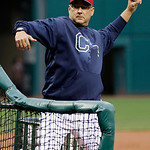 Cleveland Indians manager Terry Francona throws batting practice before a baseball game against the Boston Red Sox Tuesday, April 16, 2013, in Cleveland. (AP Photo/Mark Duncan)
