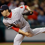 Boston Red Sox relief pitcher Junichi Tazawa, from Japan, delivers against the Cleveland Indians in the sixth inning of a baseball game Wednesday, April 17, 2013, in Cleveland. (AP Photo/Mar …