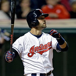 Cleveland Indians' Nick Swisher watches his two-run home run off Boston Red Sox starting pitcher Alfredo Aceves in the sixth inning of a baseball game Wednesday, April 17, 2013, in Cleveland …
