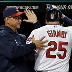Cleveland Indians manager Terry Francona congratulates Jason Giambi (25) after a solo home run against the Boston Red Soxin the sixth inning of a baseball game Wednesday, April 17, 2013, in  …