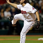 Cleveland Indians relief pitcher Chris Perez follows through on a pitch against the Boston Red Sox in the ninth inning of a baseball game Thursday, April 18, 2013, in Cleveland. The Red Sox  …