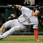 Boston Red Sox's Jacoby Ellsbury slips while rounding third base on a single by Shane Victorino in the fifth inning of a baseball game against the Cleveland Indians, Thursday, April 18, 2013 …