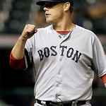 Boston Red Sox relief pitcher Andrew Bailey pumps his fist after the final out in a 6-3 win over the Cleveland Indians in a baseball game on Thursday, April 18, 2013, in Cleveland. Bailey go …