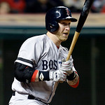 Boston Red Sox's Mike Carp singles off Cleveland Indians relief pitcher Bryan Shaw to drive in a run in the seventh inning of a baseball game Thursday, April 18, 2013, in Cleveland. (AP Phot …