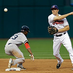 Cleveland Indians second baseman Cord Phelps throw to first over Boston Red Sox's Pedro Ciriaco too late to complete a double play on Jacoby Ellsbury in the third inning of a baseball game T …