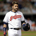 Cleveland Indians' Nick Swisher after flying out to end the sixth inning of a baseball game against the Boston Red Sox Thursday, April 18, 2013, in Cleveland. (AP Photo/Mark Duncan)