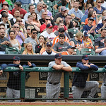TheCleveland Indians watch the baseball game against the Houston Astros from the dugout Sunday, April 21, 2013, in Houston. The Indians won 5-4. (AP Photo/Pat Sullivan)