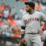 Cleveland Indians' Carlos Santana waits for the bottom of the ninth inning against the Houston Astros to start back up in a baseball game Sunday, April 21, 2013, in Houston. The Indians won  …