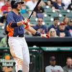 Houston Astros' Jason Castro at bat against the Cleveland Indians in the ninth inning of a baseball game Sunday, April 21, 2013, in Houston. The Indians won 5-4. (AP Photo/Pat Sullivan)
