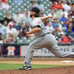 Cleveland Indians' Vinnie Pestano delivers a pitch against the Houston Astros in the ninth inning of a baseball game Sunday, April 21, 2013, in Houston. The Indians won 5-4. (AP Photo/Pat Su …