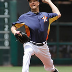 Houston Astros' Erik Bedard delivers a pitch against the Cleveland Indians in the first inning of an MLB American League baseball game Sunday April 21, 2013, in Houston. (AP Photo/Pat Sulliv …