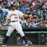 Houston Astros' Justin Maxwell lines up his bat against the Cleveland Indians in the first inning of a baseball game Saturday, April 20, 2013, in Houston. (AP Photo/Pat Sullivan)