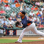 Houston Astros' Hector Ambriz delivers a pitch against the Cleveland Indians in the eighth inning of a baseball game Sunday, April 21, 2013, in Houston. The Indians won 5-4. (AP Photo/Pat Su …