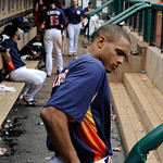 Houston Astros' Justin Maxwell leaves the dugout after their 4-5 loss to the Cleveland Indians in a baseball game on Sunday, April 21, 2013, in Houston. The Indians won 5-4. (AP Photo/Pat Su …