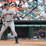 Cleveland Indians' Drew Stubbs at bat against the Houston Astros in the eighth inning of a baseball game Sunday, April 21, 2013, in Houston. The Indians won 5-4. (AP Photo/Pat Sullivan)