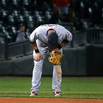 Cleveland Indians shortstop Asdrubal Cabrera bends over is a little pain after the final out of a baseball game and Indians' 3-2 win over the Chicago White Sox Monday, April 22, 2013, in Chi …