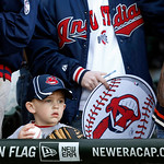 Luke Janosek, 4, from Montgomery, Ill., waits by the Cleveland Indians' dugout for an autograph before a baseball game between the Chicago White Sox and the Indians, Monday, April 22, 2013,  …