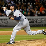 Cleveland Indians relief pitcher Chris Perez delivers during the ninth inning of a baseball game against the Chicago White Sox, Monday, April 22, 2013, in Chicago. The Indians won 3-2. (AP P …
