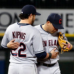 Cleveland Indians second baseman Jason Kipnis (22) celebrates with shortstop Asdrubal Cabrera after their 3-2 win over the Chicago White Sox in a baseball game, Monday, April 22, 2013, in Ch …