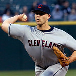 Cleveland Indians starting pitcher Justin Masterson delivers during the first inning of a baseball game against the Chicago White Sox, Monday, April 22, 2013, in Chicago. (AP Photo/Charles R …