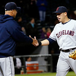 Cleveland Indians manager Terry Francona, left, celebrates with shortstop Asdrubal Cabrera after their 3-2 win over the Chicago White Sox in a baseball game, Monday, April 22, 2013, in Chica …