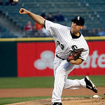 Chicago White Sox starting pitcher Dylan Axelrod delivers during the first inning of a baseball game against the Cleveland Indians, Monday, April 22, 2013, in Chicago. (AP Photo/Charles Rex …