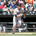 Cleveland Indians' Mark Reynolds watches his double during a baseball game against the Chicago White Sox Wednesday, April 24, 2013, in Chicago. (AP Photo/Charles Rex Arbogast)