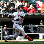 Cleveland Indians' Nick Swisher bats  during a baseball game against the Chicago White Sox Wednesday, April 24, 2013, in Chicago. (AP Photo/Charles Rex Arbogast)