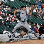 Cleveland Indians relief pitcher Nick Hagadone delivers during a baseball game against the Chicago White Sox Wednesday, April 24, 2013, in Chicago. (AP Photo/Charles Rex Arbogast)