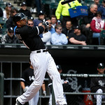Chicago White Sox's Alex Rios breaks his bat during a baseball game against the Cleveland Indians Wednesday, April 24, 2013, in Chicago. The Sox won 3-2. (AP Photo/Charles Rex Arbogast)