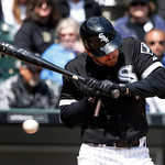 Chicago White Sox's Jeff Keppinger recoils on a close pitch by Cleveland Indians starting pitcher Zach McAllister during a baseball game Wednesday, April 24, 2013, in Chicago. The Sox won 3- …