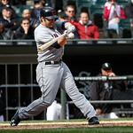 Cleveland Indians' Mark Reynolds bats  during a baseball game against the Chicago White Sox Wednesday, April 24, 2013, in Chicago. (AP Photo/Charles Rex Arbogast)