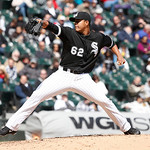 Chicago White Sox starting pitcher Jose Quintana delivers during a baseball game against the Cleveland Indians Wednesday, April 24, 2013, in Chicago. (AP Photo/Charles Rex Arbogast)