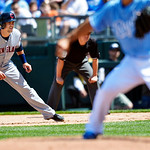 Cleveland Indians' Lonnie Chisenhall takes a lead off first base during the fifth inning of the first baseball game of a doubleheader against the Kansas City Royals, Sunday, April 28, 2013,  …