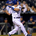 Kansas City Royals' Chris Getz (17) watches his hit go for a two-RBI single in the fourth inning of their second baseball game of a doubleheader against the Cleveland Indians, Sunday, April …