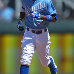 Kansas City Royals' Alcides Escobar (2) rounds second base after a solo home run against the Cleveland Indians during the fifth inning of the first of two baseball games on Sunday, April 28, …